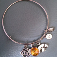 Rose Bowl Iowa Silver Bangle, Inspired by Charm Bracelet, Hawkeyes, University, Pasadena, New Years Day, college football, California, mom