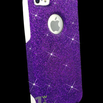Custom Glitter Case Otterbox for iPhone 5 Purple/White