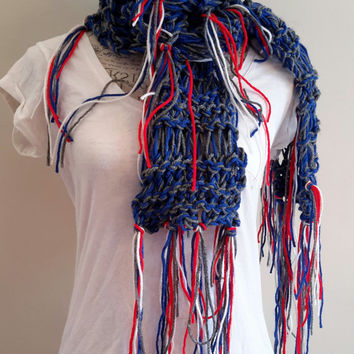 Knit disheveled Patriots inspired scarf. by Bead Gs on etsy. football. Infinity scarf.