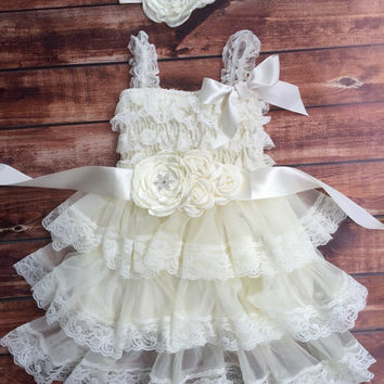 Rustic girl dress, ivory country dress,vintage, lace chiffon dress, flower girl, baby dress, flower girl dress, lace dress,flower girl dress