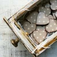 Boho wedding favors wooden heart magnets guest favors bridal shower baby shower taupe off white polka dot minimalist