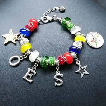 High Quality Beaded Order Of the Eastern Star OES Charm Bracelet