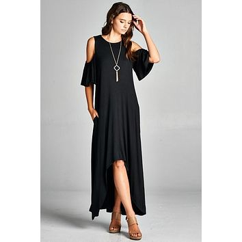 Cold Shoulder Maxi Dress - Black