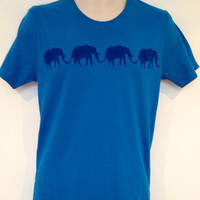 Elephants t-shirt men's - hand stencilled, organic cotton, carbon neutral garment
