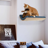 cat shelf pet supplies wall mounted perch cat bed wave shelf TWEED BLUE cushion, cosy and dozy play furniture nesting supplies cat shelves