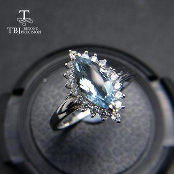 TBJ,100% natural Brazil aquamarine mq5*10 0.75ct diana gemstone ring in 925 sterling silver precious stone jewelry with gift box