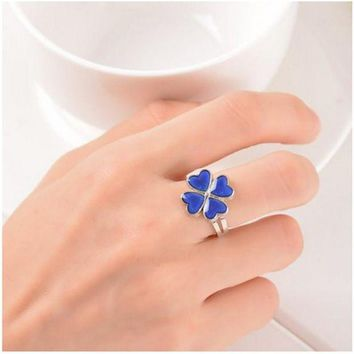 DCCKU62 Clover Ring Mood Color Change Ring Temperature Mood Rings for Women Men Fine Jewelry present party for girlfriend Guest