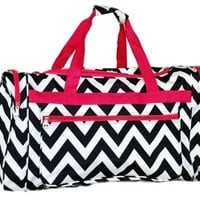 Women's Chevron Black w/Hot pink Trim Duffel Bag, 22""