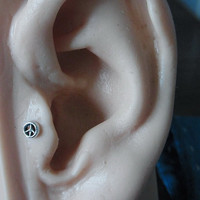 Mini Peace sign tragus / cartilage /helix earing (1pc)
