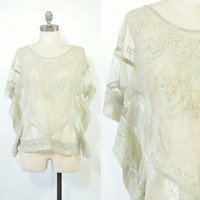 Gray Sheer Lace Poncho Top | Embroidered Top
