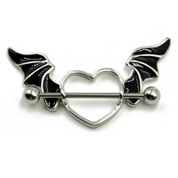 Stainless Steel Bat Wing Nipple Shield Ring Angel Heart Piercing Barbell Jewelry 14g