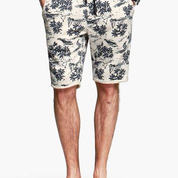 Mens Long Palm Print Shorts