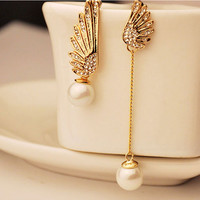 2016 Elegant Gold Asymmetric Double Angel Wings Stud Earrings Long Pearl Earrings For Women Pendientes Jewelry ER841