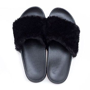 Dingxiu Slippers FauxFur Slide Sandals Flip Flop Soft Slide Slip on Flat Footwear Shoes for Women and Men