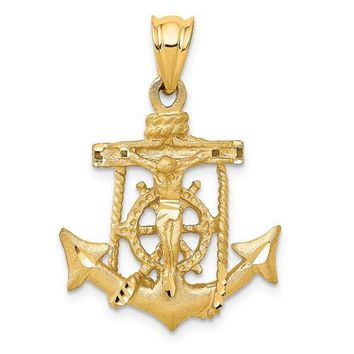 14k Mariners Cross 29x20mm Pendant