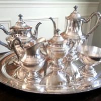 Antique Reed and Barton silver 6 piece tea and coffee service, silverplate hollowware tea set, wedding gift. Pattern 4020