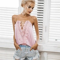 satin adjustable strap lining camisole tank top Casual lace up cami Reversible cami lace top