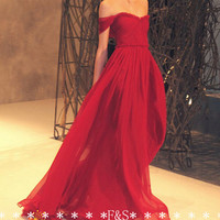 2015 Sexy Red Prom Dresses Chiffon Off Shoulder bridesmaid dress prom dress Floor Length A-Line Evening Dresses Gowns for Party