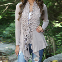 Ruffled Asymmetrical Loose Cardigan