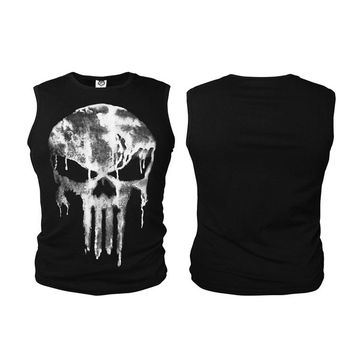 Men Sleeveless T-Shirt The Punisher Anti-hero Skull Vests Fitness Bodying Building Tank Tops