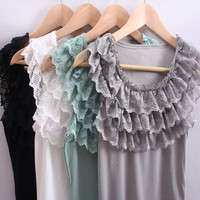 Free shipping green pink white black 4 colors women ladies tank top camis, 3 layers lace ruffles collar cotton T shirts tops