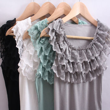 tank top camis, 3 layers lace ruffles collar cotton T shirts tops