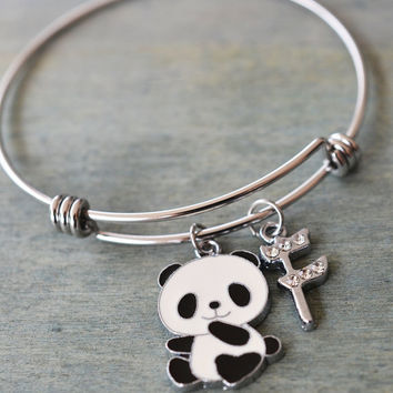 panda bracelet, personalized jewelry, pet remembrance jewelry, bridesmaid gift, gift for mom, niece birthday gift, panda bear bangle, animal