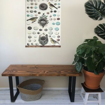 The Foundry Bench - Solid Wood Entryway Bench with Steel Legs
