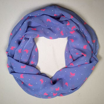 Spring, Summer Lightweight Infinity Scarf, Loop Scarf, Circle Scarf - Periwinkle Blue with White Spots & Pink Butterflies, Birthday, Easter