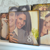 Wood Wedding Table Number Photo Custom Blocks- SET OF 24- Centerpieces- Table Number Photo Frames