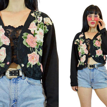 vintage 90s ROSE floral print jacket sequin beaded embroidered gypsy black soft grunge bolero duster CROPPED lace jacket boho hippie M
