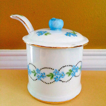 Porcelain Jam Jar Jelly Jar with Lid & Spoon: Handpainted Deep Sky Blue Flowers and Gold Accents, Vintage Kitchen