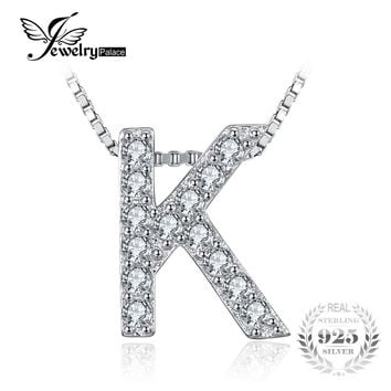 """JewelryPalace Letter """"K"""" Initial 0.36ct Cubic Zirconia Pendant Necklace Real 925 Sterling Silver 45cm Box Chain Necklace"""