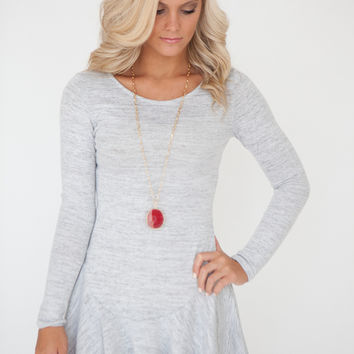 Long Sleeve Fit And Flare Tunic Dress - Light Grey