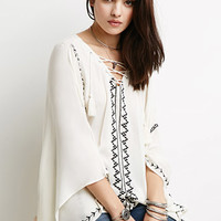 Embroidered Lace-Up Poncho