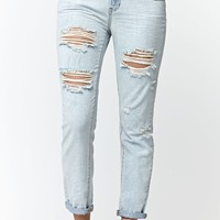 Bullhead Denim Co. Sand Wash Ripped Skinny Boyfriend Jeans - Womens Jeans - Blue