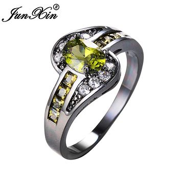Women Peridot Oval Ring Fashion White & Black Gold Filled Jewelry Vintage Wedding Rings