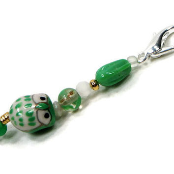 Purse Jewelry Purse Charm Key Fob Zipper Pull Mint Green Owl Gold Beaded Scissor Fob Pocketbook Decoration