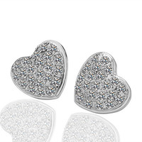 White Gold Heart Clear Cubic Zirconia Stud Earrings