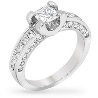 Kylie 1ct CZ White Gold Rhodium Classic Ring