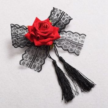 Lolita Girls Fabric Rose Lace Hair Clip / brooch Gothic Lady Hair Accessory