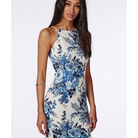 Missguided - 90's Neck Strappy Bodycon Dress White/ Blue Floral