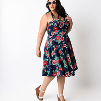 Plus Size 1950s Style Navy Rose Floral Halter Flare Dress