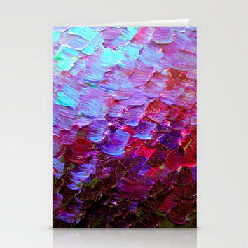 MERMAID SCALES - Colorful Ombre Abstract Acrylic Impasto Painting Violet Purple Plum Ocean Waves Art Stationery Cards by EbiEmporium