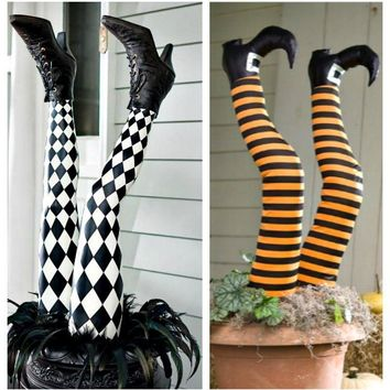 Set of 2 Realistic Life Size Halloween Witch Leg Stakes