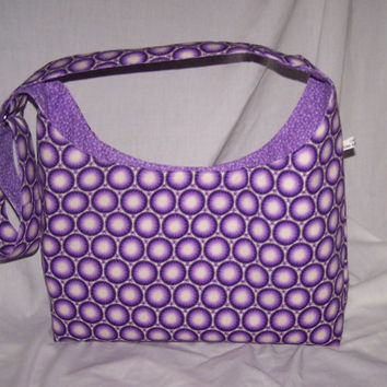 Large hobo style cross over adjustable strap purse, purple medallion fabric modern diaper bag, mom purse, tote bag with adjustable strap
