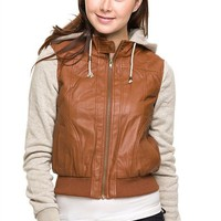 Terry Fleece Sleeve & Hooded Motorcycle Biker PU Faux Leather Bomber Jacket