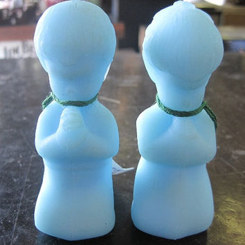 Vintage Fenton Blue Satin Praying Boy and Praying Girl Figurines Set of 2