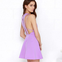 Light Purple Halter Multi Strap Back Mini Dress