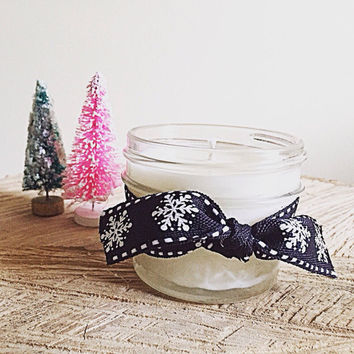 Soy candles Christmas home decor peppermint mocha mason jar candle quilted gift for her stocking stuffer teacher gift